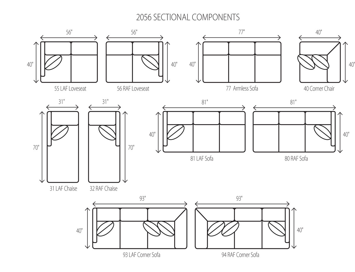 Wesley Hall 2056 Macintosh Sectional Components