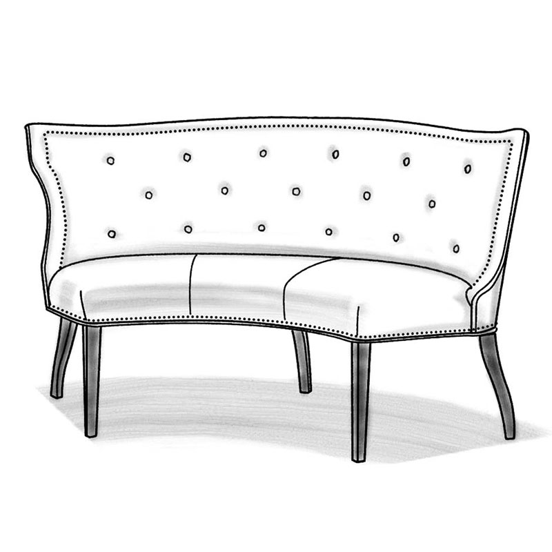 Wesley Hall L625-65 Hudson Curved Dining Banquette