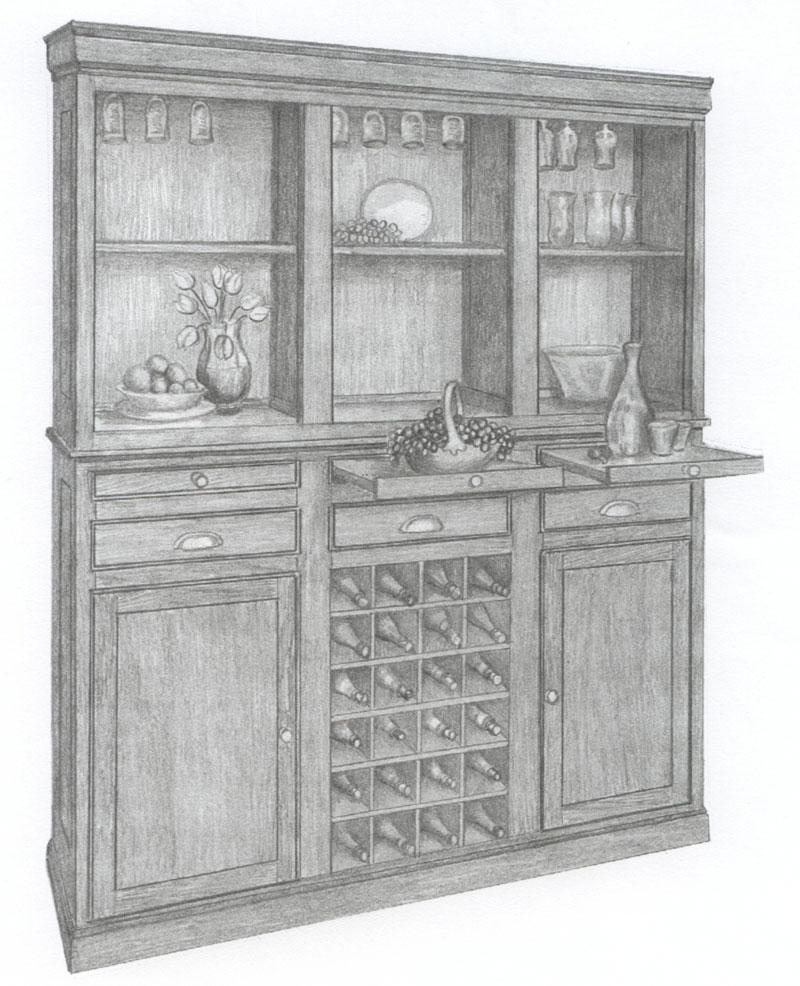3 Door Wine Hutch