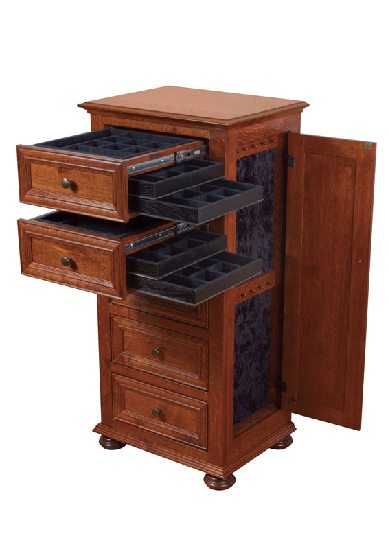 Canyon Creek Jewelry Chest with Drawers and Doors Open