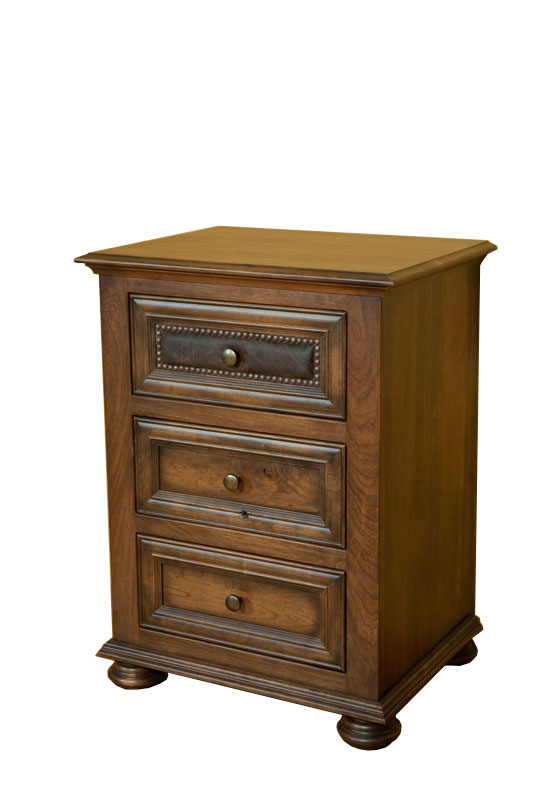 3-Drawer Nightstand in Rustic Cherry with Ancient Cherry Stain and Optional One-Drawer Leather Accent