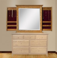 Dresser Mirror with Sliding Jewelry Wings