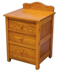 Country Mission 3 Drawer Nightstand With Back Splash