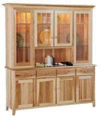 Shaker Impression Four Door China Hutch with Center Opening